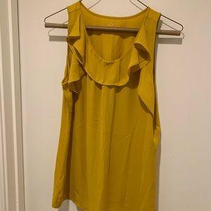 Ann Taylor Loft Yellow Mustard Ruffle Tank Top